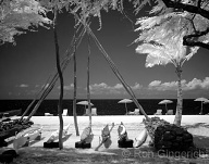 A near-infrared view of the symbolic canoe house on Hulopo`e Beach
